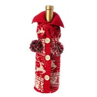 "11"" Alpine Chic Red and Cream Reindeer and Tree Nordic Design Knit Christmas Wine Bottle Cover"
