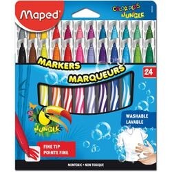 24/Pkg - Color'peps Jungle Fine Tip Washable Markers