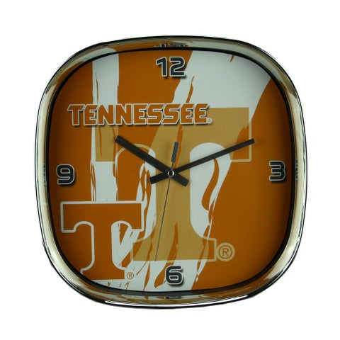 University of Tennessee Volunteers Glass Face Wall Clock Chrome Finished Frame - Orange