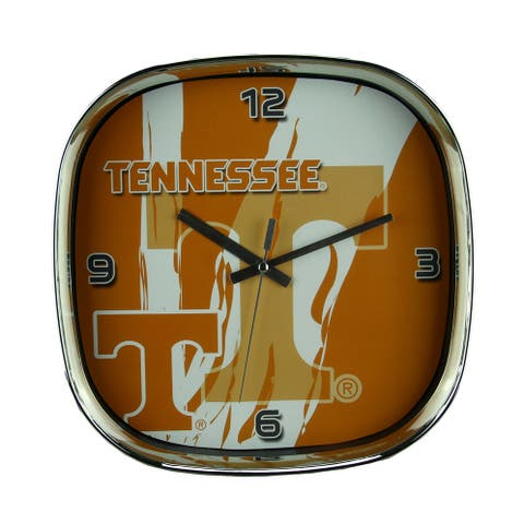 University of Tennessee Volunteers Glass Face Wall Clock Chrome Finished Frame - Orange - 11.5 X 11.5 X 2 inches
