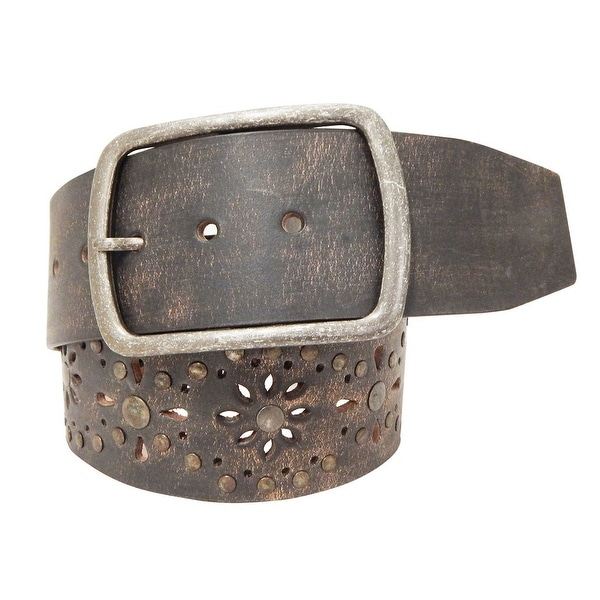 Roper Western Belt Womens Floral Rectangle Buckle Brown