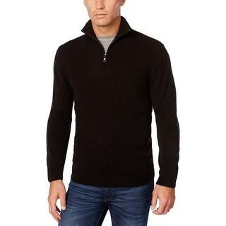 Weatherproof Mens Sweater Mock Collar Ribbed Trim