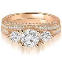 2.14 cttw. 14K Rose Gold Three-Stone Lucida Round Cut Diamond Bridal Set