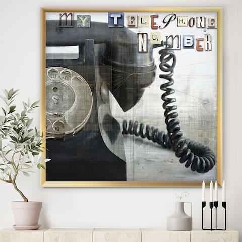 Designart 'Old Skool Telephone' Traditional Premium Framed Art Print