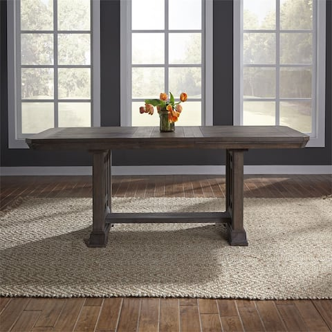 Copper Grove Letampon Wire-brushed Aged Oak Trestle Table - Brown