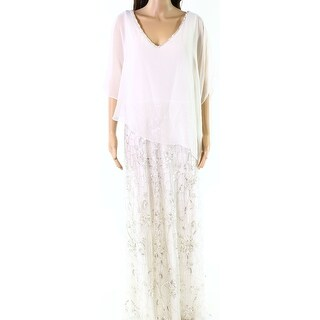 Jkara White Womens Size 12 Embellished Sheer Capelet Sequin Gown