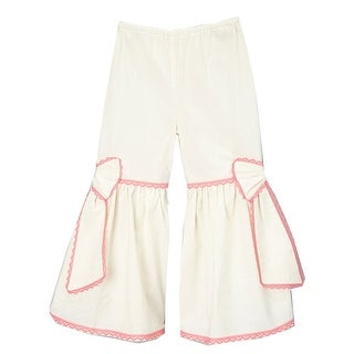 Girls Ivory Fuchsia Scalloped Lace Trim Bow Accent Flare Pants 7-10