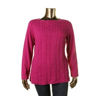 Karen Scott Womens Plus Cable Knit Roll Neck Pullover Sweater