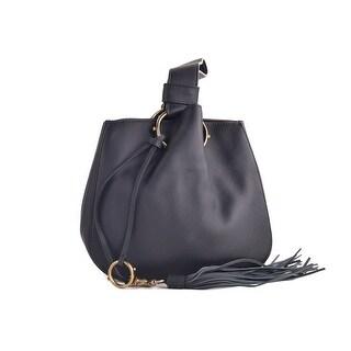 Roberto Cavalli Black Leather Fringe Wristlet Bucket Bag
