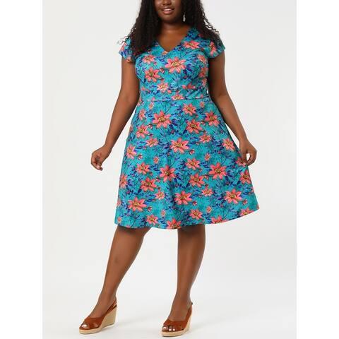 Women's Plus Size Above Knee Cap Sleeve V Neck Floral Dress