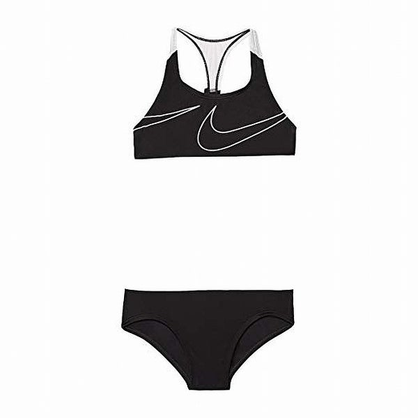 41156e12f2c1 Shop Nike Black White Girl's Size 14 Two-Piece Racerback Swimsuit - Free  Shipping On Orders Over $45 - Overstock - 28079632