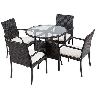 5 pcs Rattan Patio Furniture Set with Round Table