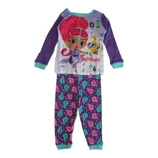 Nickelodeon Little Girls Purple Shimmer Shine Long Sleeve 2 Pcs Pajama Set