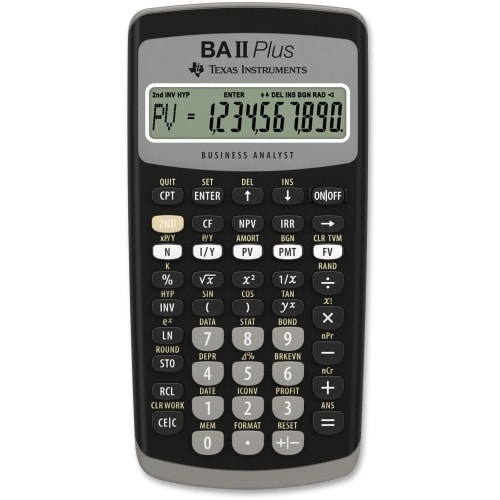 """Texas Instruments BAIIPLUS Texas Instruments BA-II Plus Adv. Financial Calculator - 10 Digit(s) - LCD - Battery Powered -"