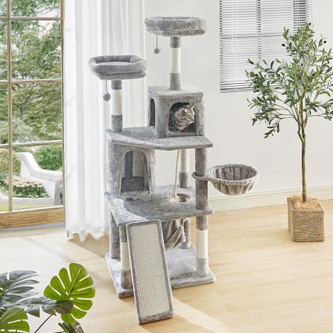 64.6 Inches Cat Tree 6 Levels Cat Tower with Large Scratching Board