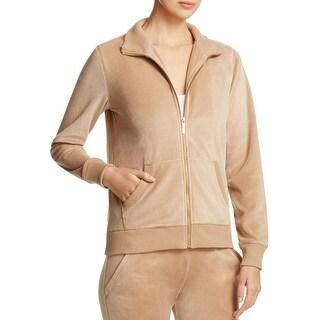MICHAEL Michael Kors Womens Athletic Jacket Velour Ribbed Trim