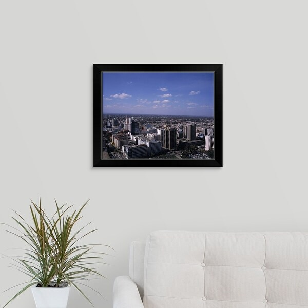 """Aerial view of a city, Nairobi, Kenya"" Black Framed Print"