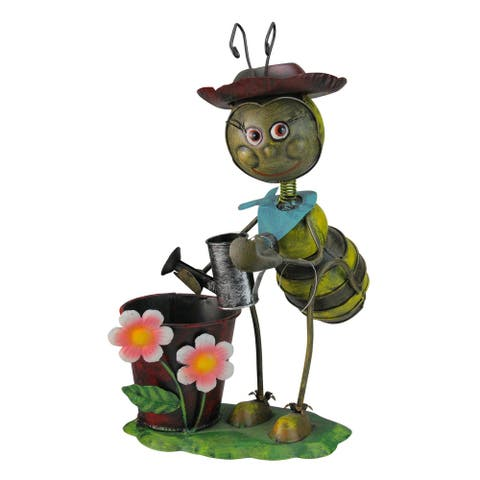 "13.5"" Vintage Bee with Watering Can Spring Garden Planter"
