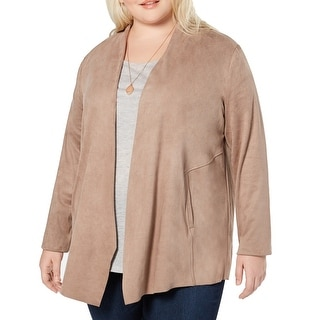 Link to Style & Co. Womens Jacket Beige Size 2X Plus Faux Suede Open Front Similar Items in Women's Outerwear
