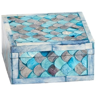 "Cyan Design 09793  Piceo 2-1/2"" x 5-1/4"" Bone and Wood Decorative Container - Turquoise"