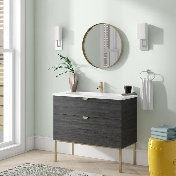 40 Modern Bathroom Vanity Smug Oak Wood Gold Handle And Legs 40 X 33 X 18 Cabinet Sink On Sale Overstock 30330317