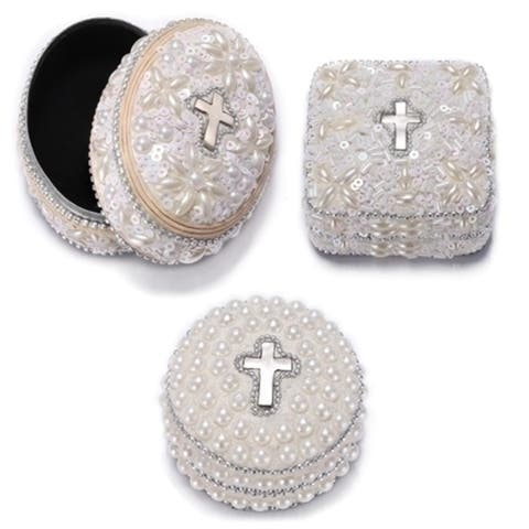 Set of 6 Religious Ivory White Lace Communion Trinket Boxes 3 - N/A