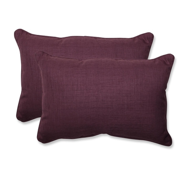 Set of 2 Purple UV/Fade Resistant Outdoor Patio Over-Sized Rectangular Throw Pillow 24.5""