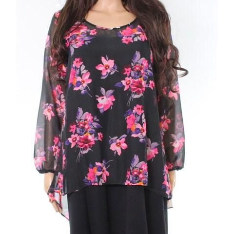 Moa Moa Black Pink Womens Size Medium M Floral Chiffon Blouse