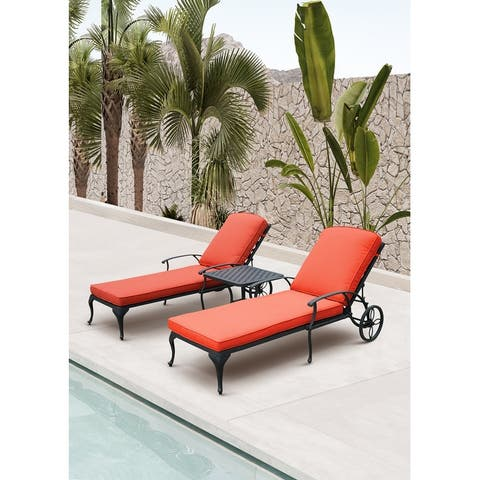 3-Piece Aluminum Reclining Outdoor Chaise Lounge with Table and Cushions