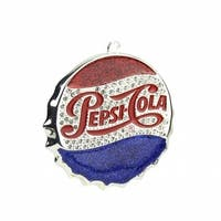 3 in. Silver Plated Classic Pepsi-Cola Bottle Cap Logo Christmas
