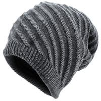Unique Bargains Man Chic Textured Stripes Pattern Knitted Beanie Hat Dark Gray