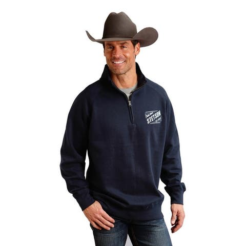 Stetson Western Sweatshirt Men 1/4 Zip Collar Navy