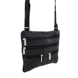 Black Leather Cross-Body Travel Bag with Adjustable Nylon Strap