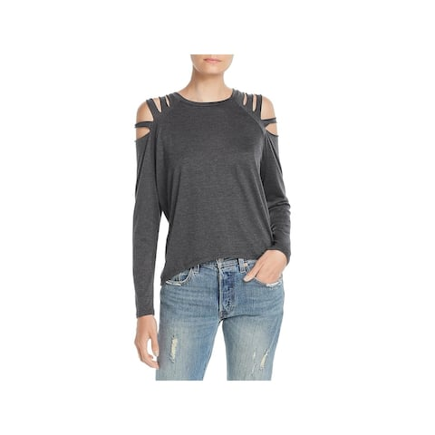 Elan Womens Pullover Top Cold Shoulder Cut-Out