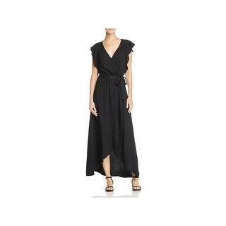 Splendid Womens Maxi Dress Faux Wrap Ruffled Sleeve