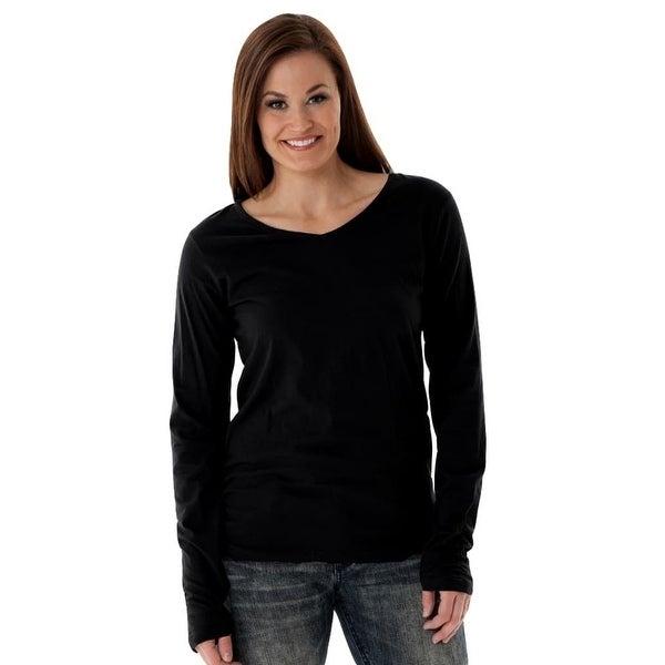 eec251c557d326 Shop Cowgirl Tuff Western Shirt Women Long Sleeve Shredded Tee Black - Free  Shipping Today - - 18413604