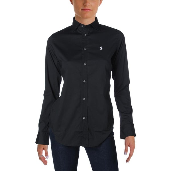 Polo Ralph Lauren Womens Button-Down Top Logo Slim Fit
