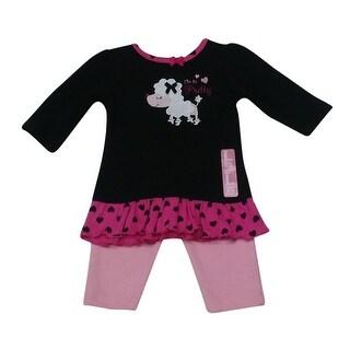 Bon BeBe Baby Girls Black Poodle Applique Heart Ruffle Pants Outfit