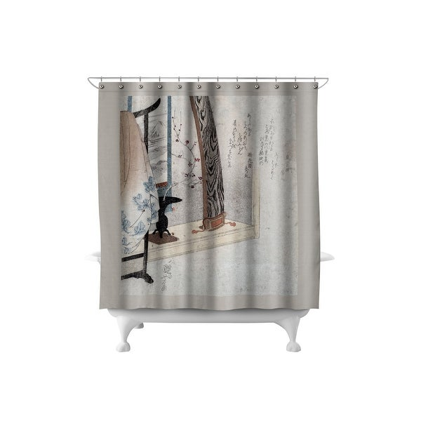 Koto and Robe Stand - Japanese Wood-Cut (71x74 Polyester Shower Curtain)