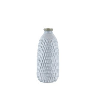 Ceramic Vase with Engraved Scalloped Pattern, Medium, Gray
