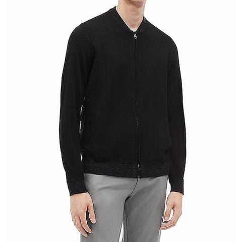 Calvin Klein Mens Sweater Deep Black Size 2XL Knit Full Zipper Wool