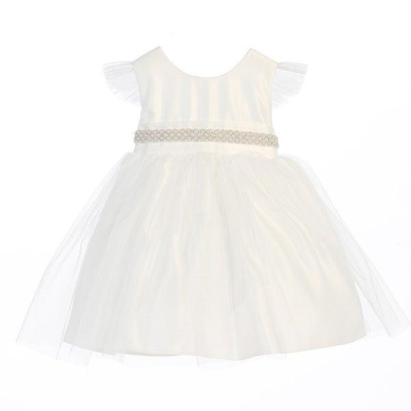 Sweet Kids Baby Girls Off White Tulle Flutter Sleeve Flower Girl Dress 6-24M