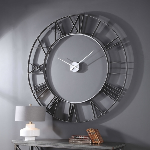 """Uttermost 06458 Carroway 60"""" Round Oversized Floating Dial Wall Clock - Silver. Opens flyout."""