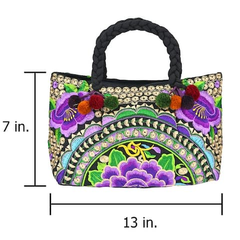 Handmade Chic & Beautifully Embroidered Flower Garden Handbag (Thailand)