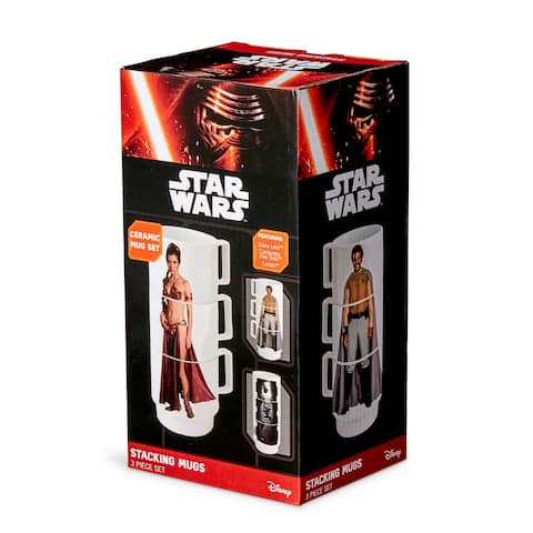 Star Wars 11-Oz Stacking Mugs - Princess Leia, Han Solo in Carbonite, and Lando - White