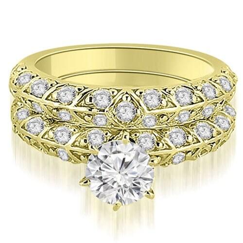 1.73 cttw. 14K Yellow Gold Antique Round Cut Diamond Engagement Set