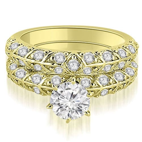 1.98 cttw. 14K Yellow Gold Antique Round Cut Diamond Engagement Set