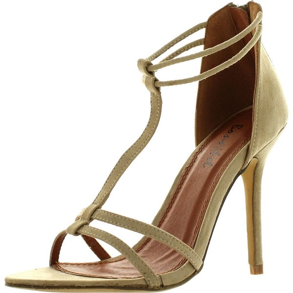 Bonnibel Rosita-2 Womens T-Strap Back Zipper Ankle Strap Stiletto Dress Sandals
