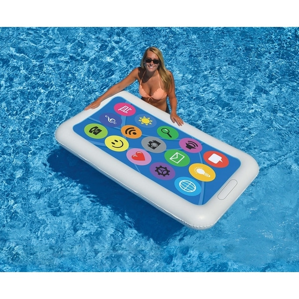 """68"""" Inflatable White and Blue Smart Phone Swimming Pool Float - N/A"""