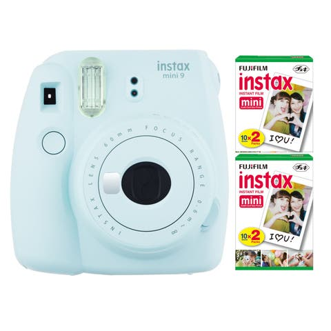 Fujifilm Instax Mini 9 Instant Camera (Ice Blue) with Twin Film Pack (40 Sheets) - Ice Blue